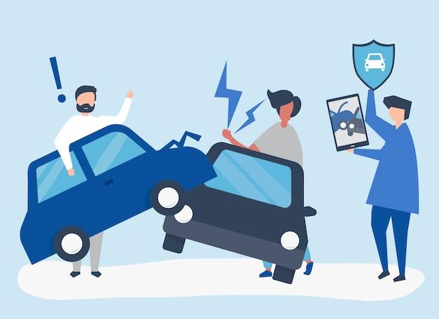 Un agente de seguros resolviendo un accidente automovilístico.