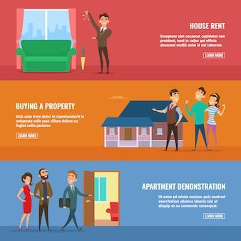 Agentes de bienes raíces que venden diferentes edificios a parejas de familias felices.