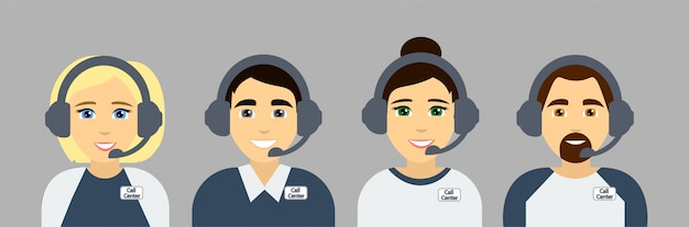 Agentes de call center. asistentes de servicio de atención al cliente en línea. avatares planos. ilustración.