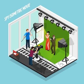 Agentes especiales filmando composición de películas