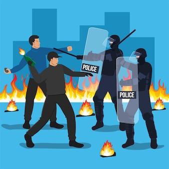Los agentes de la policía antidisturbios chocan con los manifestantes.