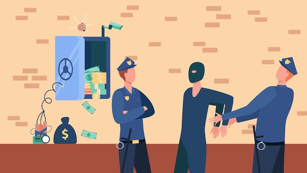 Agentes de policía arrestando a ladrón de caja fuerte
