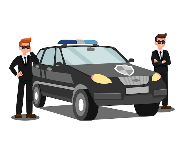 Agentes de seguridad y coche plano vector illustration