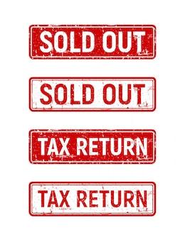 Agotado conjunto de sellos, caja roja libre de impuestos en sello de goma grunge.