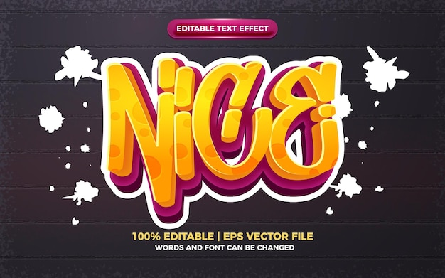 Agradable efecto de texto editable 3d del logotipo del estilo del arte del graffiti