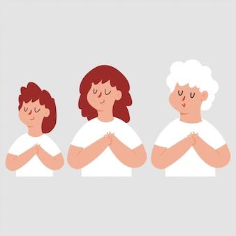 Agradecidas mujeres con mano en el pecho y ojos cerrados. personajes de dibujos animados conjunto aislado.
