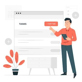 Agregar ilustración del concepto de tareas