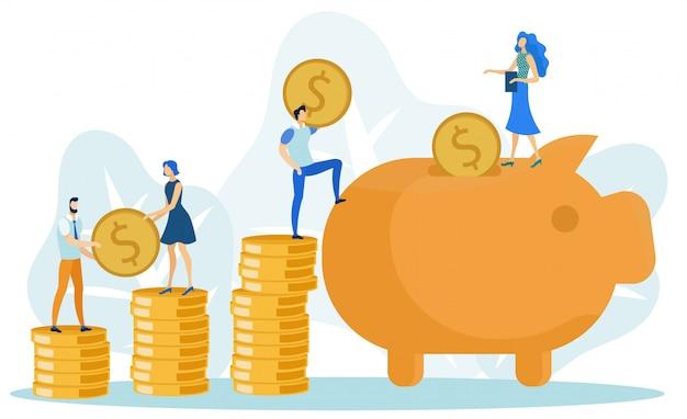 Agregar monedas a big piggy bank, ahorrando dinero