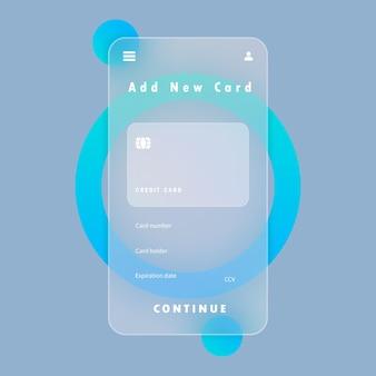 Agregar nuevo banner de tarjeta. pago con smartphone. tarjeta de crédito. estilo glassmorfismo. ilustración vectorial. efecto de morfismo de vidrio realista con juego de placas de vidrio transparente.