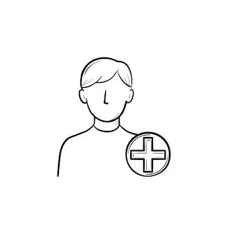 Agregar nuevo icono de doodle de contorno dibujado a mano de usuario