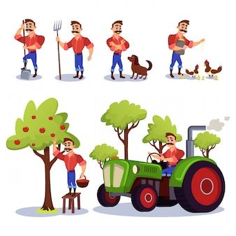 Agricultor charecter trabajando en la granja con animales.