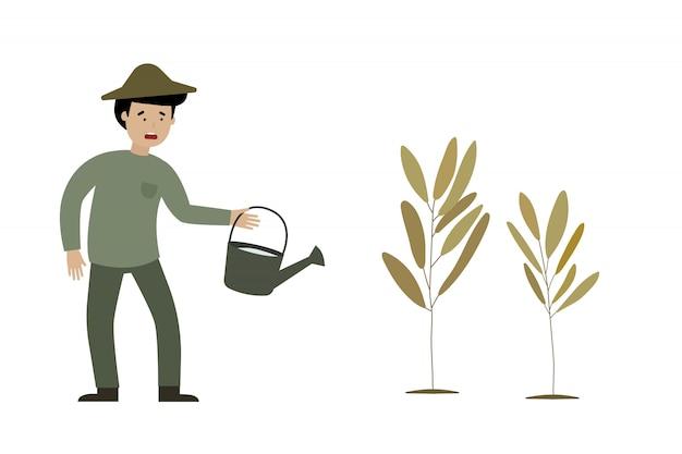 Un agricultor es tristeza y plantas muertas.