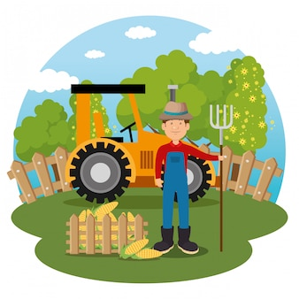 Agricultor en la escena de la granja