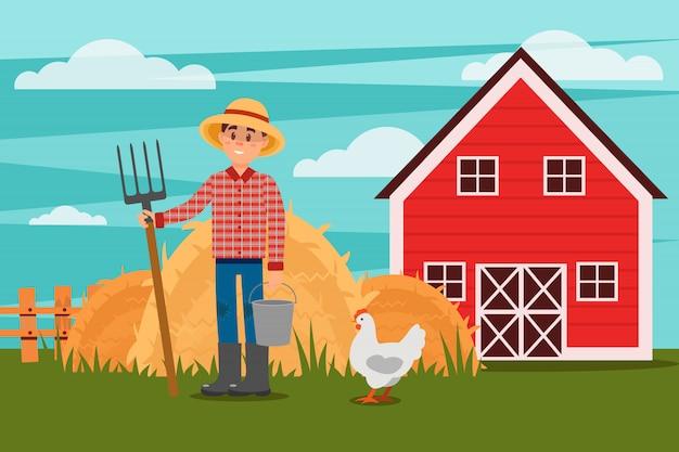 Agricultor con horca y cubo. pollo caminando en prado verde. montones de heno, cerca y granero en el fondo. paisaje rural. plano