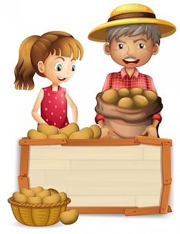 Agricultor de patatas en tablero de madera