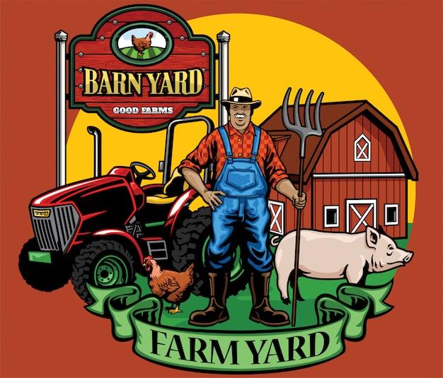 Agricultor posa con su tractor y corral