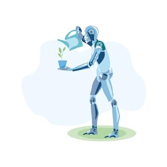 Agricultor robótico cultivando plantas ilustración plana