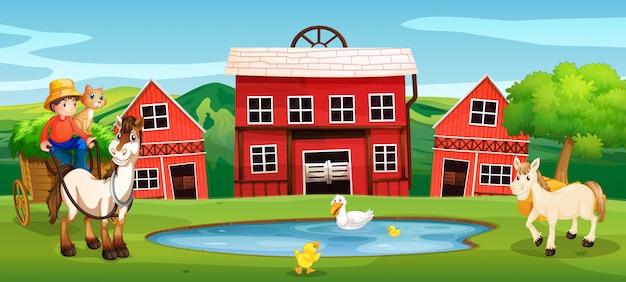 Agricultor en las tierras agrícolas rurales.