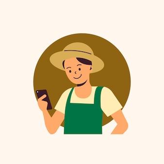 Agricultor utilizando tecnología agricultura digital.