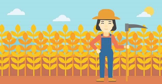 Agricultora con guadaña.