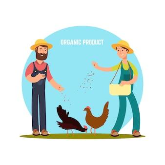 Los agricultores alimentan a los animales