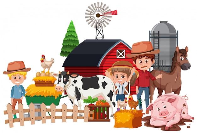 Agricultores y animales en blanco