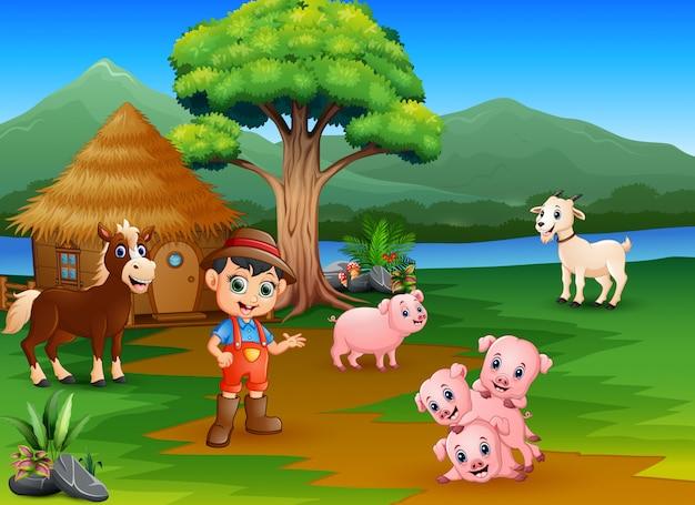 Agricultores y animales de granja fuera de la jaula.