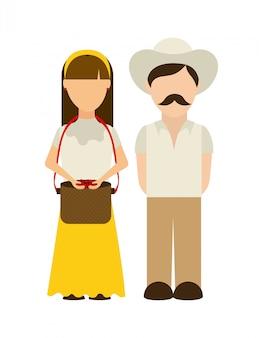Los agricultores de diseño sobre fondo blanco ilustración vectorial