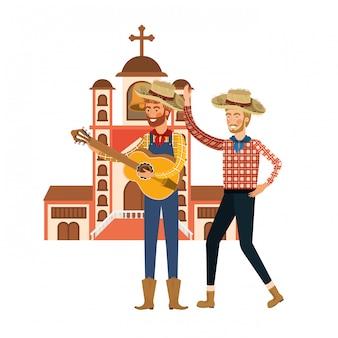 Agricultores hombres con instrumento musical.