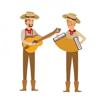 Agricultores hombres con instrumentos musicales.
