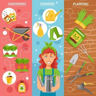 Agricultores jardinería fondo plano conjunto
