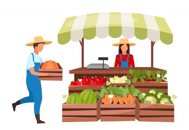 Los agricultores del mercado ilustración plana. productos ecológicos, productos orgánicos de la tienda local. puesto en el mercado con verduras en cajas de madera. tienda rural de verano al aire libre con vendedor de dibujos animados. granja de abarrotes
