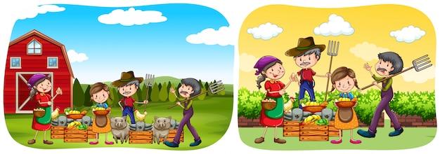 Agricultores y productos en la granja.