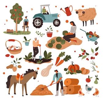 Agricultores que cuidan de plantas y animales en la granja