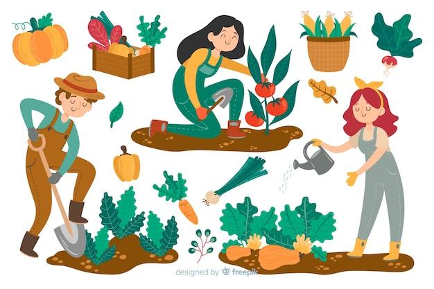 Agricultores que trabajan en el campo