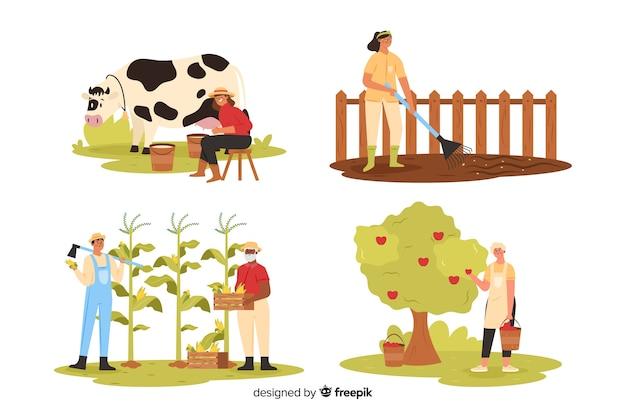 Agricultores que trabajan en tierra