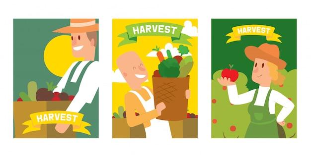 Los agricultores recogiendo la cosecha de verduras a cestas y cajas de tarjetas, carteles.
