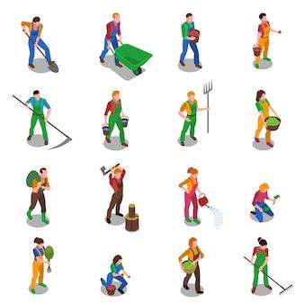 Los agricultores en el trabajo conjunto de iconos isométricos