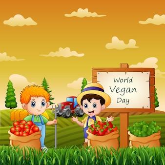 Los agricultores y las verduras en saco en el día mundial del vegano