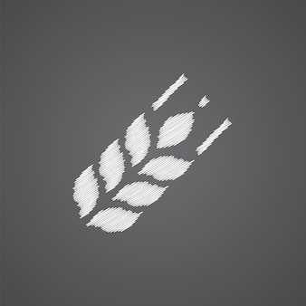 Agricultura bosquejo logo doodle icono aislado sobre fondo oscuro