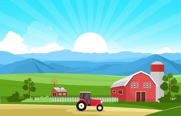 Agricultura campo granja rural pradera escena de la naturaleza paisaje ilustración