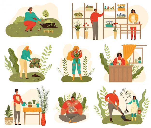 La agricultura y la jardinería cosecha conjunto de personas en el trabajo en la granja y el jardín, flores de dibujos animados de plantas aisladas en blanco ilustración.