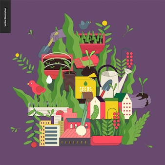 La agricultura urbana y el collage de jardinería.