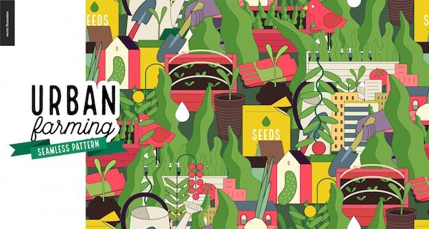 Agricultura urbana y patrón de jardinería.