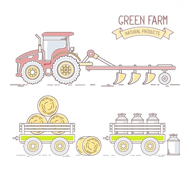 Agronegocios. ilustración de la colección del tractor agrícola con arado y carro con heno y leche aislado sobre fondo blanco. paisaje de aldea.