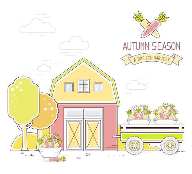 Agronegocios. ilustración de la vida moderna granja colorida en el momento de la cosecha de zanahoria sobre fondo blanco paisaje del pueblo