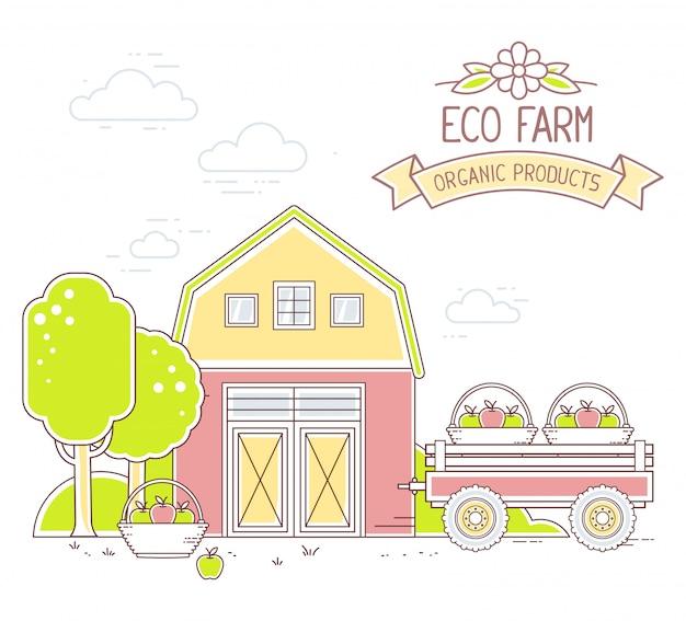 Agronegocios. ilustración de la vida moderna granja colorida en el tiempo de cosecha de manzana sobre fondo blanco. paisaje del pueblo