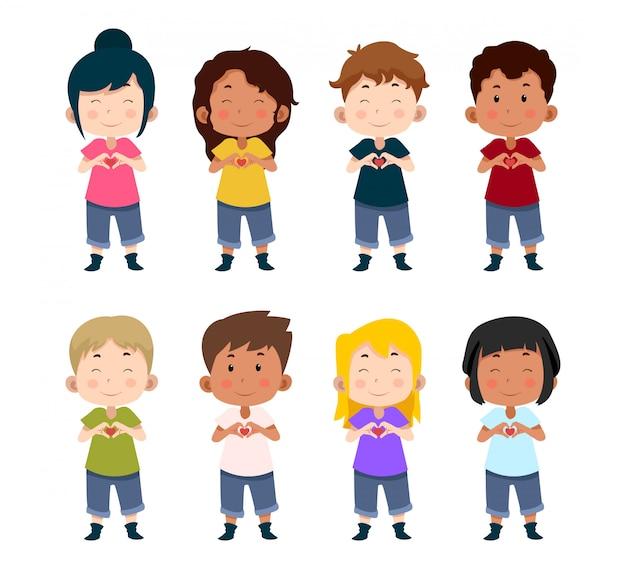 Agrupe personajes de niños lindos