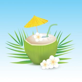 Agua de coco con paja y paraguas sobre fondo blanco.