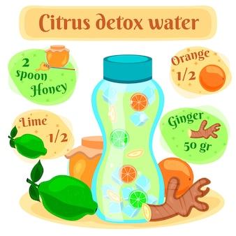 Agua de desintoxicación de cítricos para una rápida pérdida de peso composición de receta pictórica plana con ingredientes de jengibre y miel de lima
